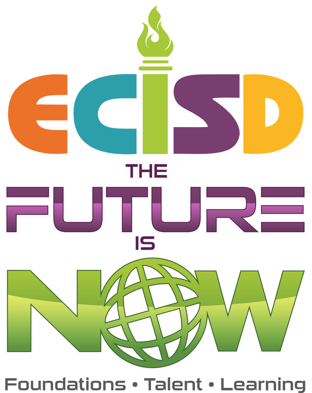 ECISD letters with additional text of The Future is Now