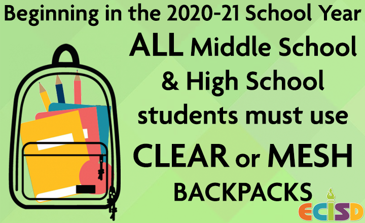 color graphic of a clear backpack; text stating this new requirement begins in August 2020