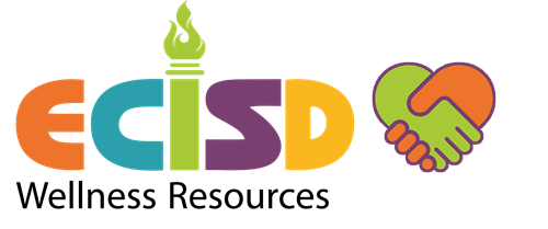 Wellness Resources Color ecisd logo with orange and green clasping hands